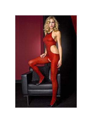 Music Legs Music Legs Catsuit Zebradruck - Rot/Schwarz