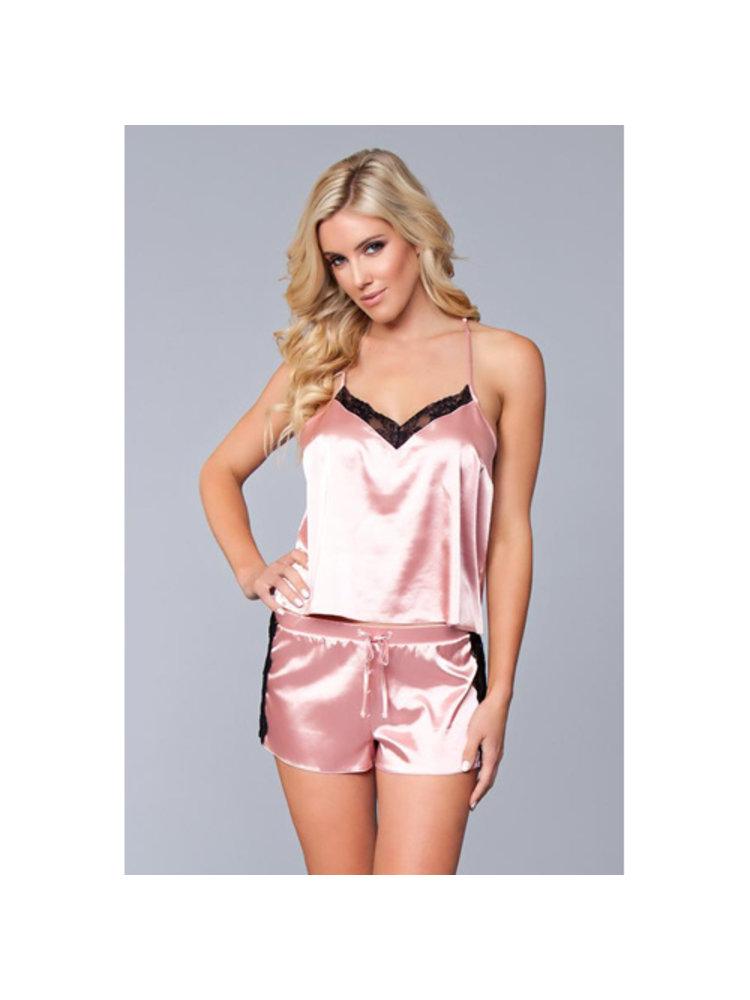 Be Wicked Jasmina Satin-Damenhemdchen und Shorts-Set - Pink