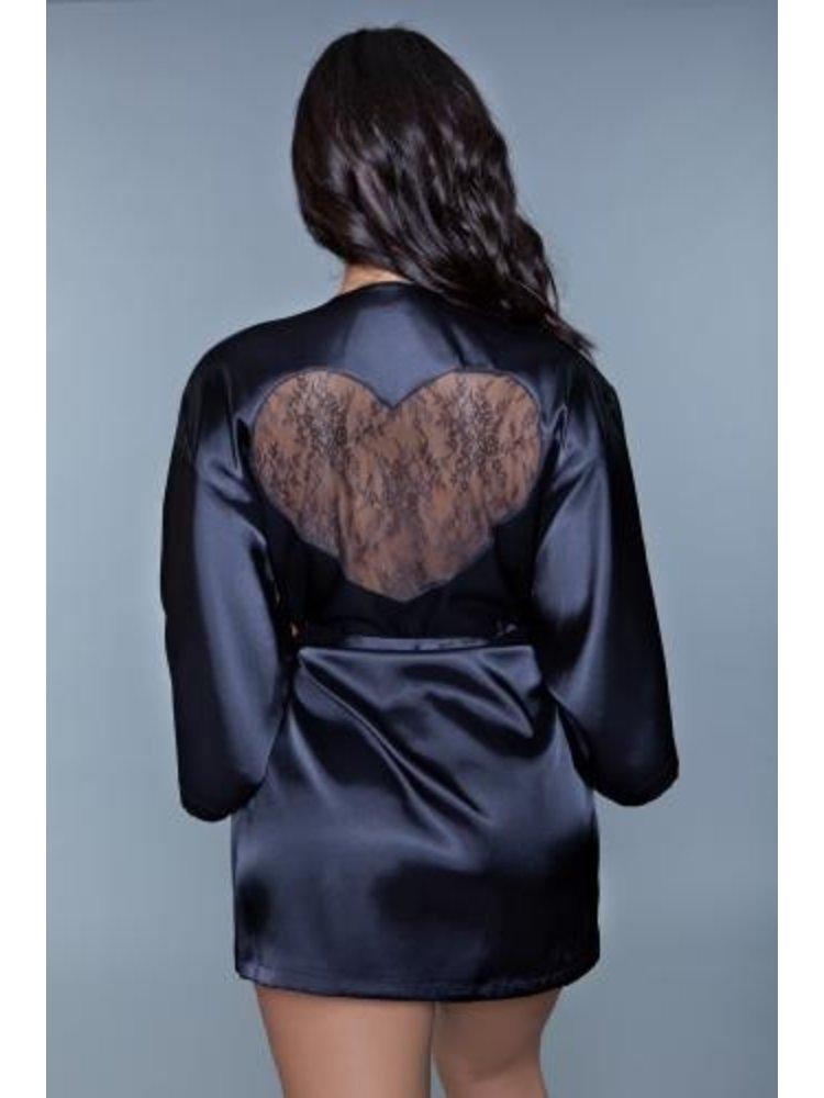 Be Wicked Amora Kimono mit Herz - Schwarz