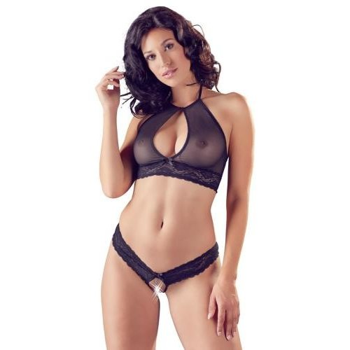 Cottelli Collection Sexy schieres crotchless 2-Teiliges Set