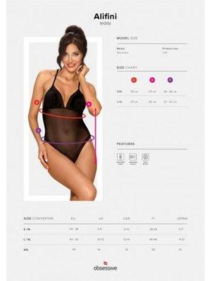 Obsessive Alifini Transparenter Bodysuit mit Flügeldruck - Schwarz