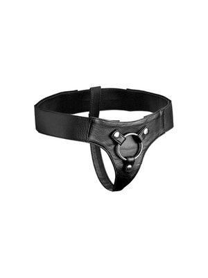 Strap U Strap-on Harness aus Leder in Schwarz