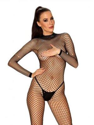 Obsessive Netz-Catsuit mit sexy Rücken - Schwarz