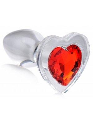 Booty Sparks Red Heart Glas-Analplug mit Schmuckstein - Klein