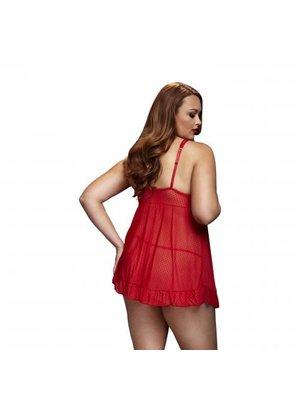 Baci Lingerie Baci - Durchsichtiges Babydoll mit offenen Körbchen - Für Kurven - Rot