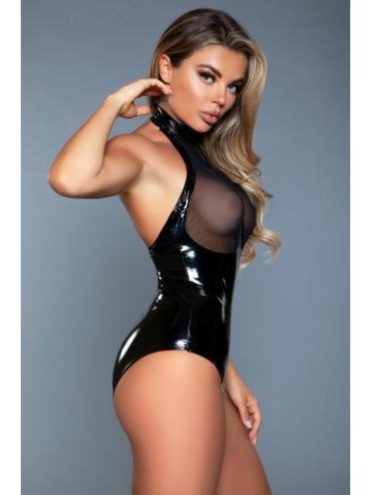 Be Wicked Anise Wetlook-Bodysuit mit Cut Outs - Schwarz