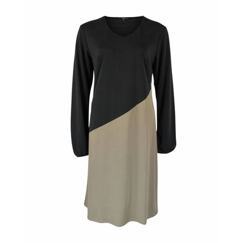 Longlady Longlady Dress Evalien Black Taupe
