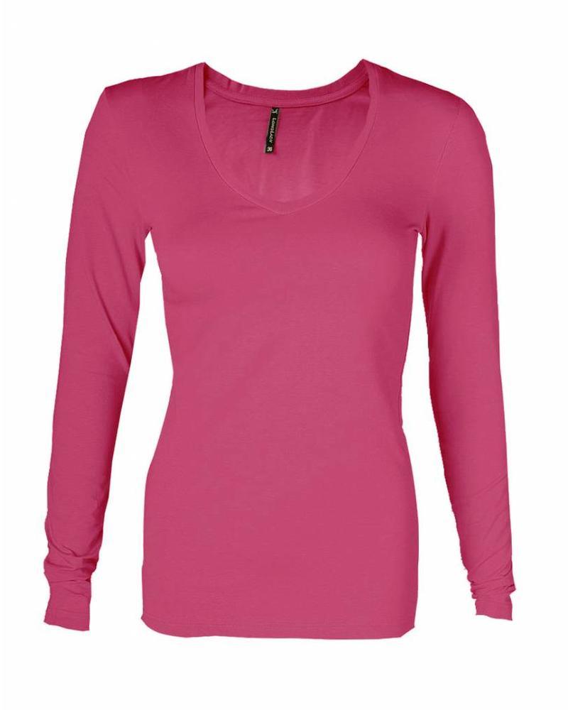 Longlady T-shirt Tanja Fuchsia