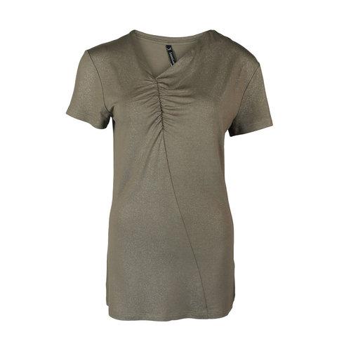 Longlady Longlady Shirt Tirza Taupe Sparkle