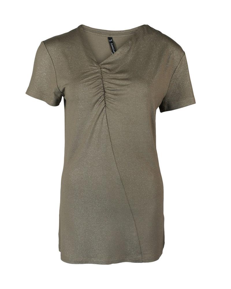 Longlady Shirt Tirza Taupe Sparkle