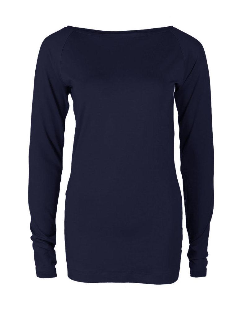 Longlady Shirt Theodora Donkerblauw