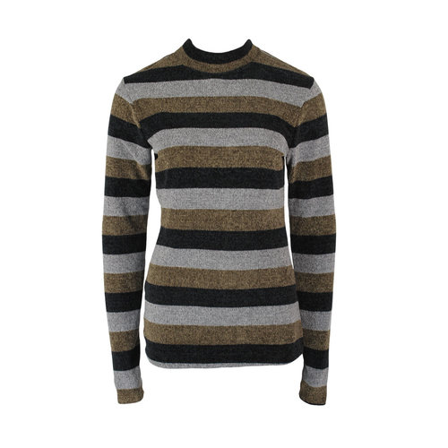 Longlady Longlady Sweater Tammy Khaki Stripes