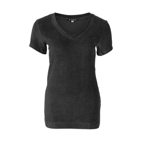 Longlady Longlady Shirt Tani Rib Zwart