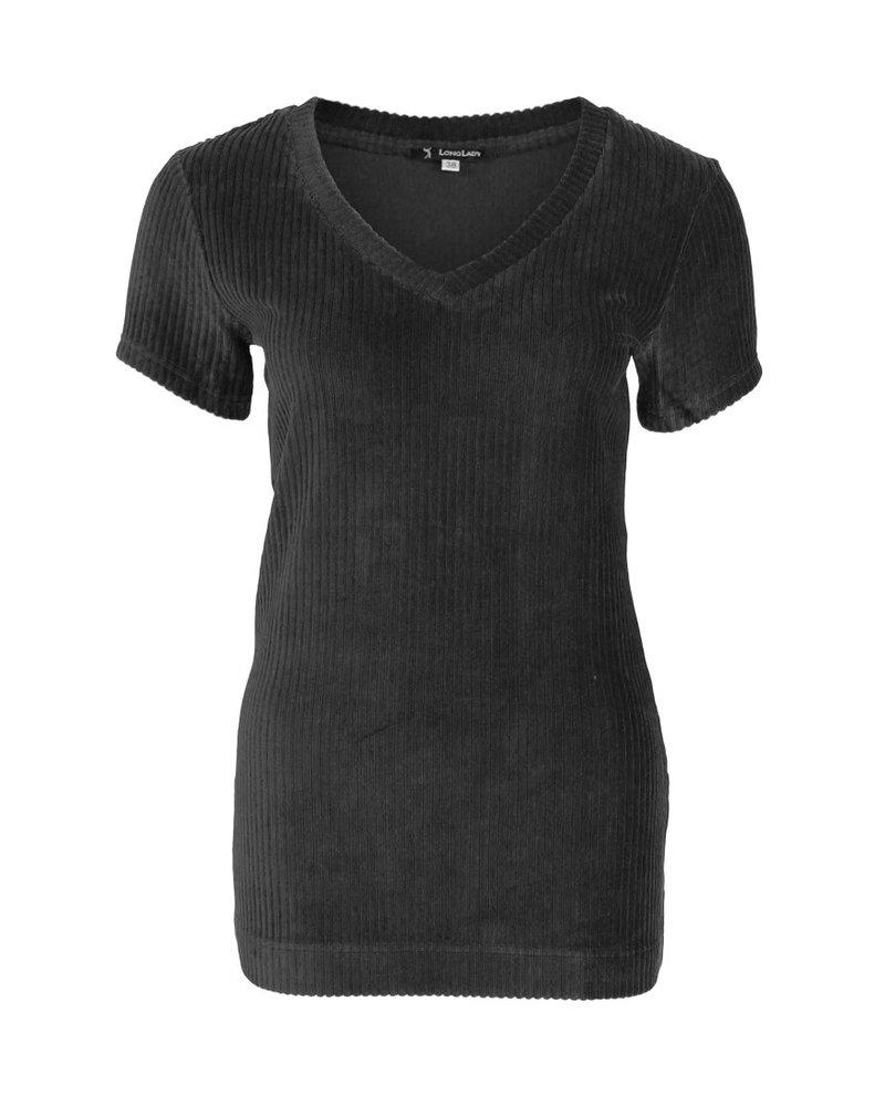 Longlady Shirt Tani Rib Zwart
