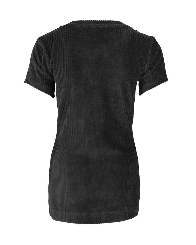 Longlady Shirt Tiene Rib Zwart