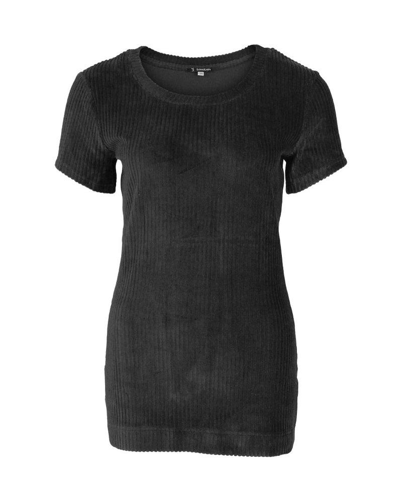 Longlady Shirt Tiene Rib Black