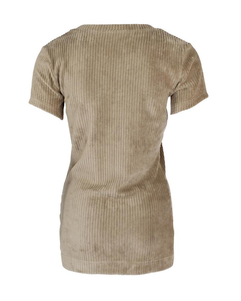 Longlady Shirt Tiene Rib Beige