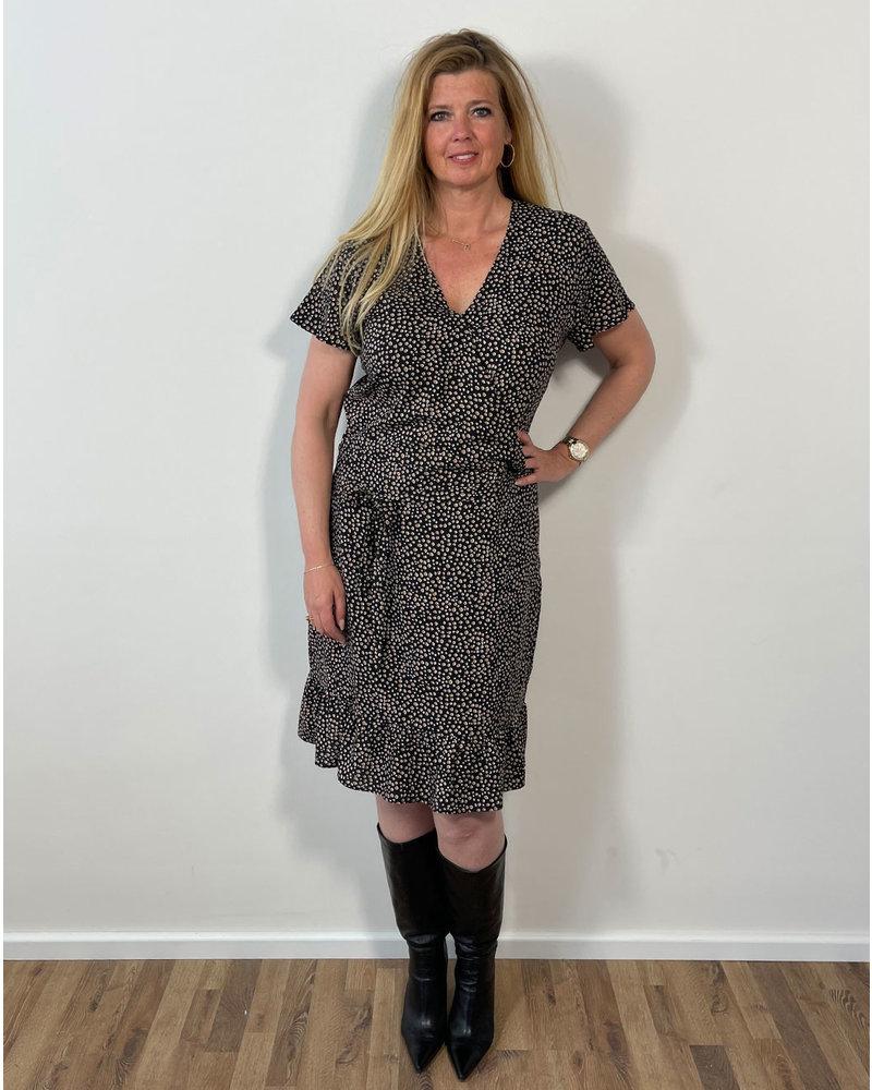 Longlady Jurk Julie Zwart Goud Stip