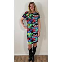 Longlady Dress Eef Black Fuchsia
