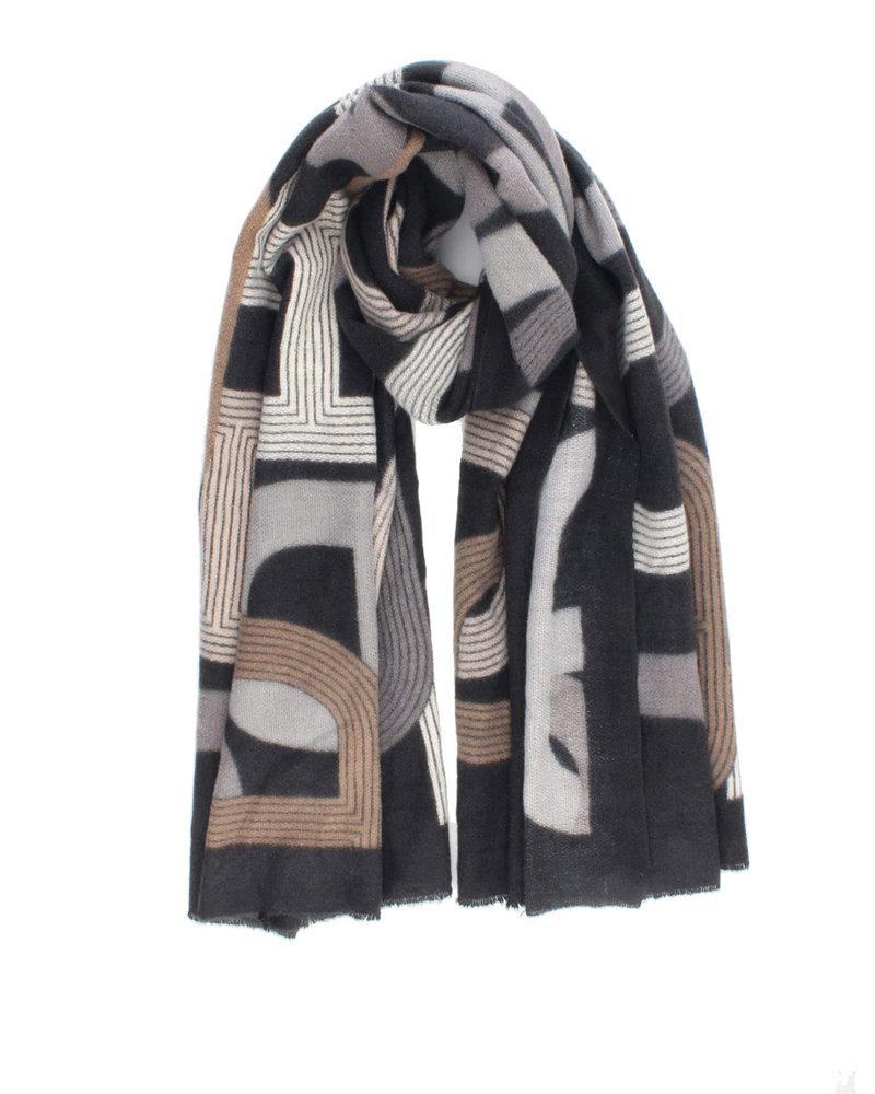 Sjaal Zwart Creme Camel