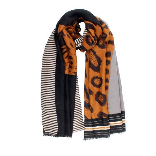 Sjaal Zwart Creme Oker