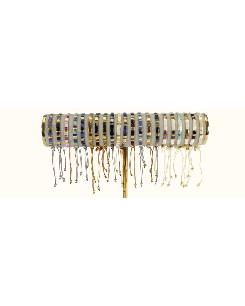 Armbandje Tila Himeji lapis silver