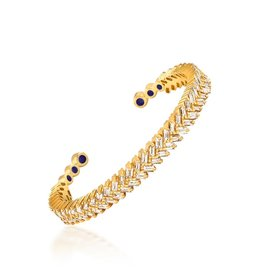 Shanhan Chevron Bangle With Diamonds in Yellow Gold