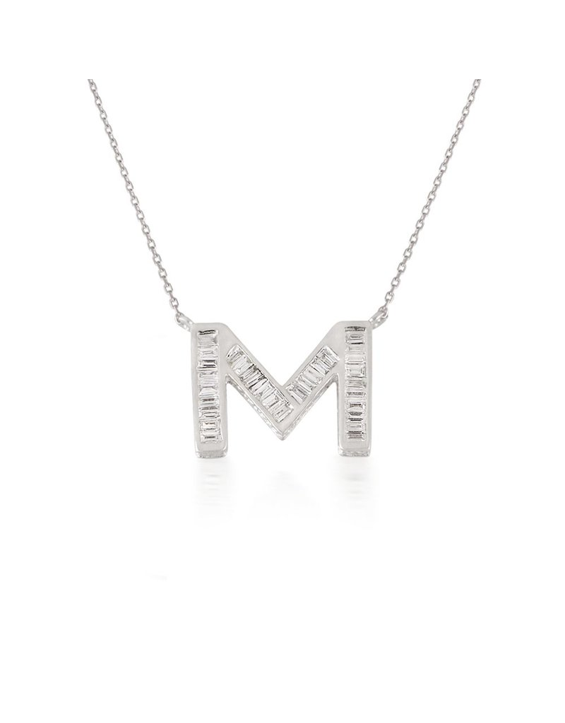 Spell My Love Pendant Letter M White Gold