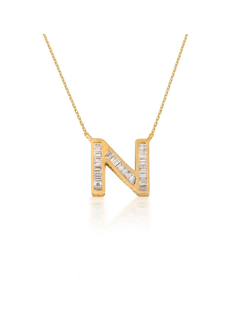 Spell My Love Pendant Letter N Yellow Gold