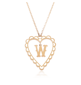 Calliope Alphabet  Heart Necklace Letter W  in Frost