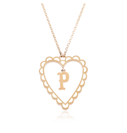 Calliope Alphabet  Heart Necklace Letter P  in Frost