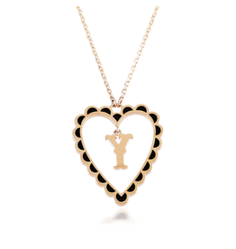 Calliope Alphabet  Heart Necklace Letter Y in Ebony