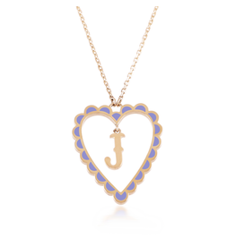 Calliope Alphabet  Heart Necklace Letter J  in Lilac
