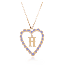 Calliope Alphabet  Heart Necklace Letter H in Lilac