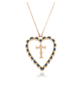 Calliope Alphabet  Heart Necklace Letter T  in Tosca