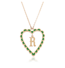 Calliope Alphabet  Heart Necklace Letter R  in Evergreen