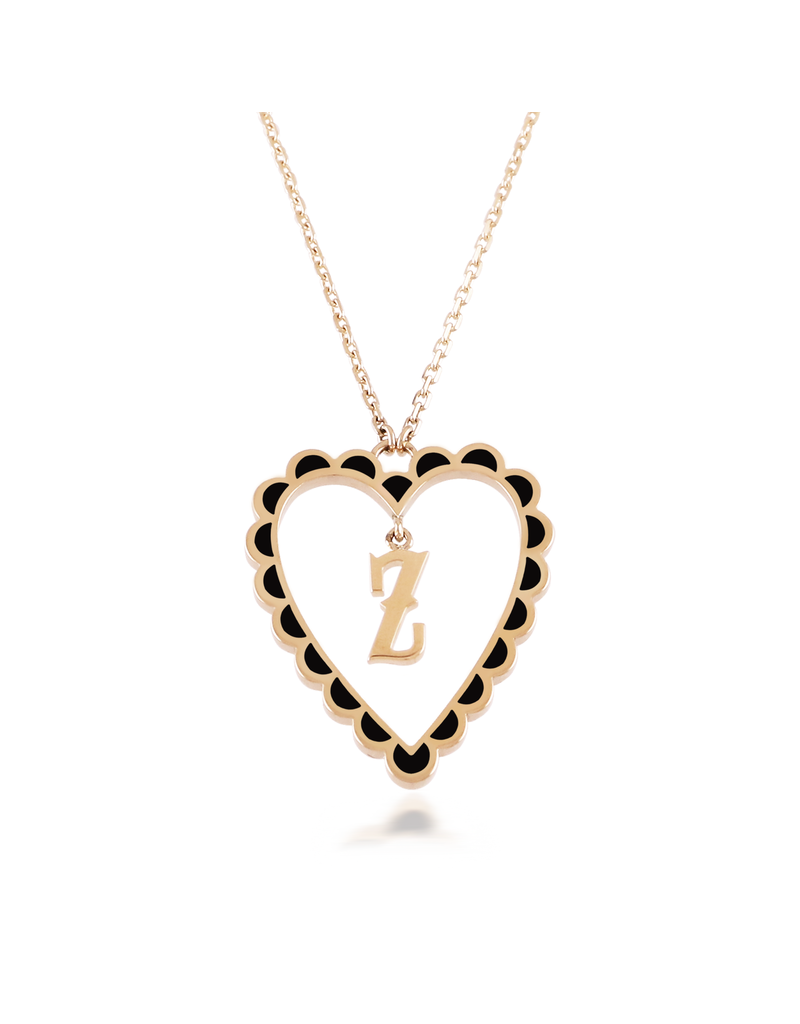 Calliope Alphabet Heart Necklace Letter Z in Ebony