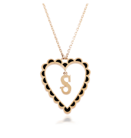 Calliope Alphabet Heart Necklace Letter S  in Ebony