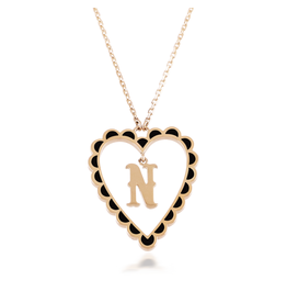 Calliope Alphabet Heart Necklace Letter N in Ebony