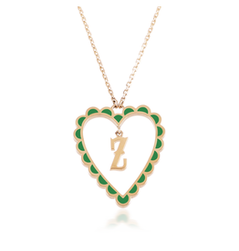 Calliope Alphabet Heart Necklace Letter Z in Evergreen