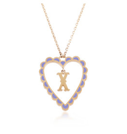Calliope Alphabet Heart Necklace Letter X  in Lilac