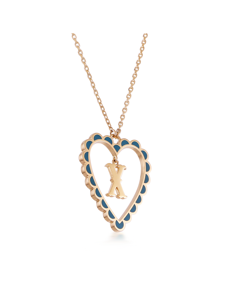 Calliope Alphabet Heart Necklace Letter X  in Tosca