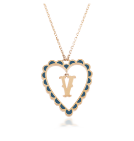Calliope Alphabet Heart Necklace Letter V in Tosca