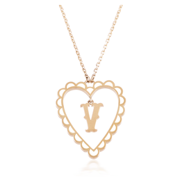 Calliope Alphabet Heart Necklace Letter V in Frost