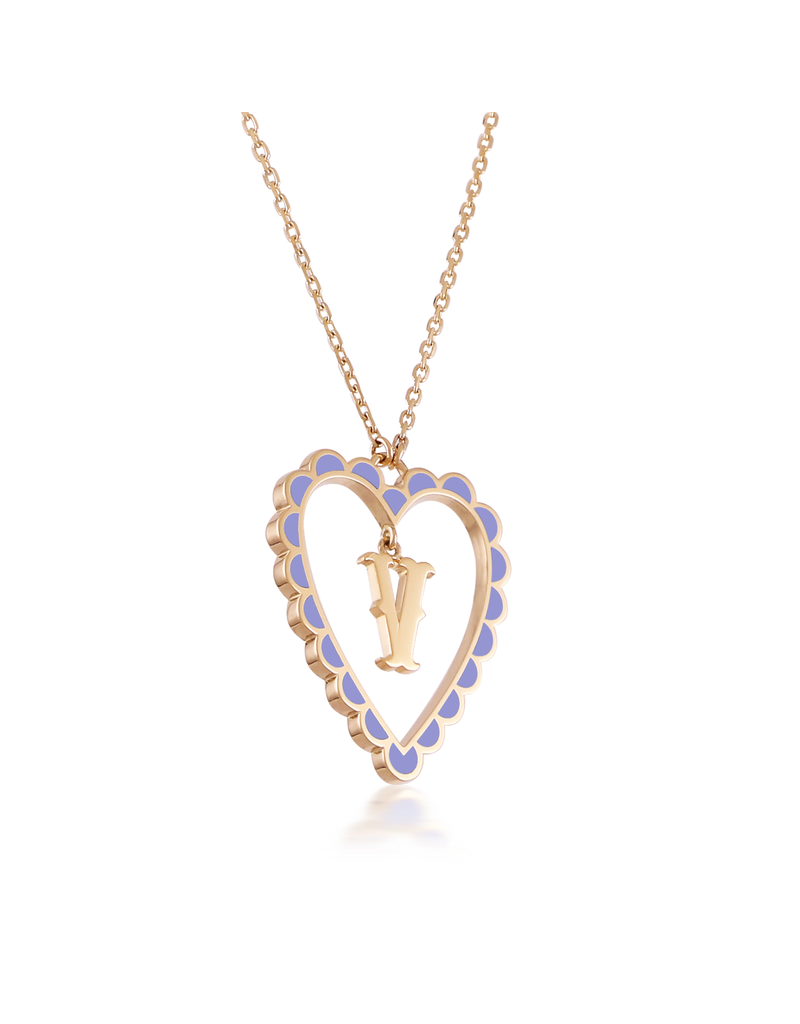 Calliope Alphabet Heart Necklace Letter V in Lilac