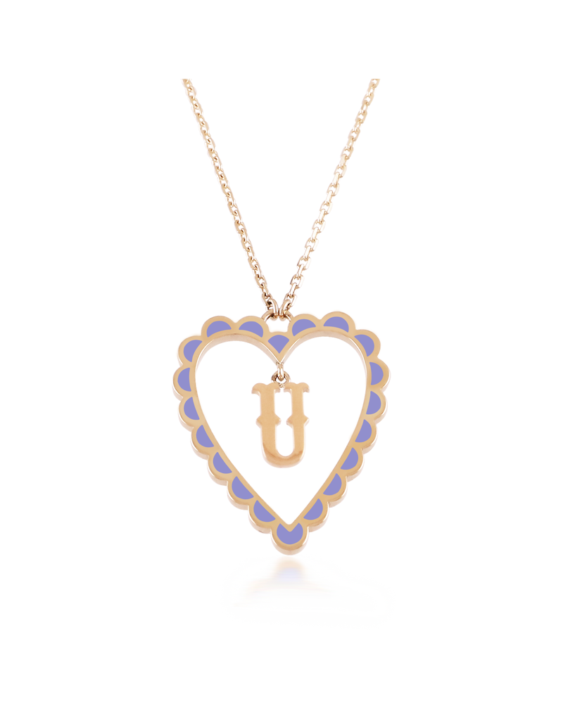 Calliope Alphabet Heart Necklace Letter U in Lilac