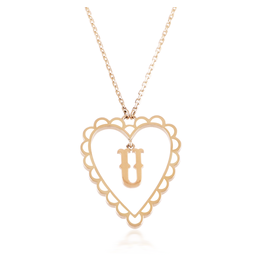 Calliope Alphabet Heart Necklace Letter U in Frost
