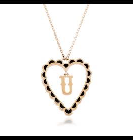Calliope Alphabet Heart Necklace Letter U  in Ebony