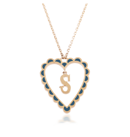 Calliope Alphabet Heart Necklace Letter S  in Tosca