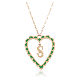 Calliope Alphabet Heart Necklace Letter S  in Evergreen